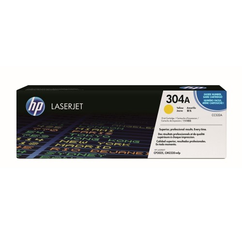 TONER HP 304A AMARELO LASERJET ORIGINAL (CC532A) PARA HP LASERJET CP2025DN, CM2320N, CM2320NF