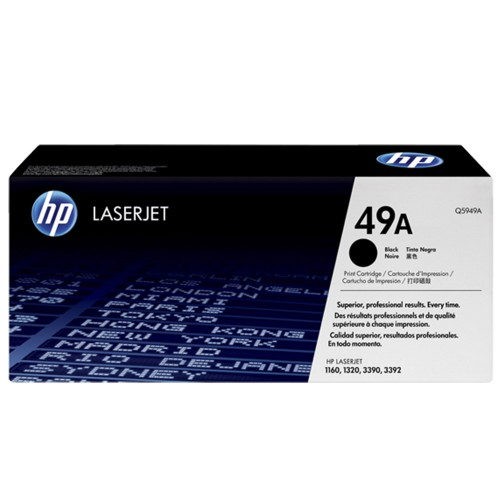TONER HP 49A PRETO LASERJET ORIGINAL (Q5949A) PARA HP LASERJET 1320, 1320N, 1320NW, 1320T, 1320TN, 3390, 3392 CX 1 UN